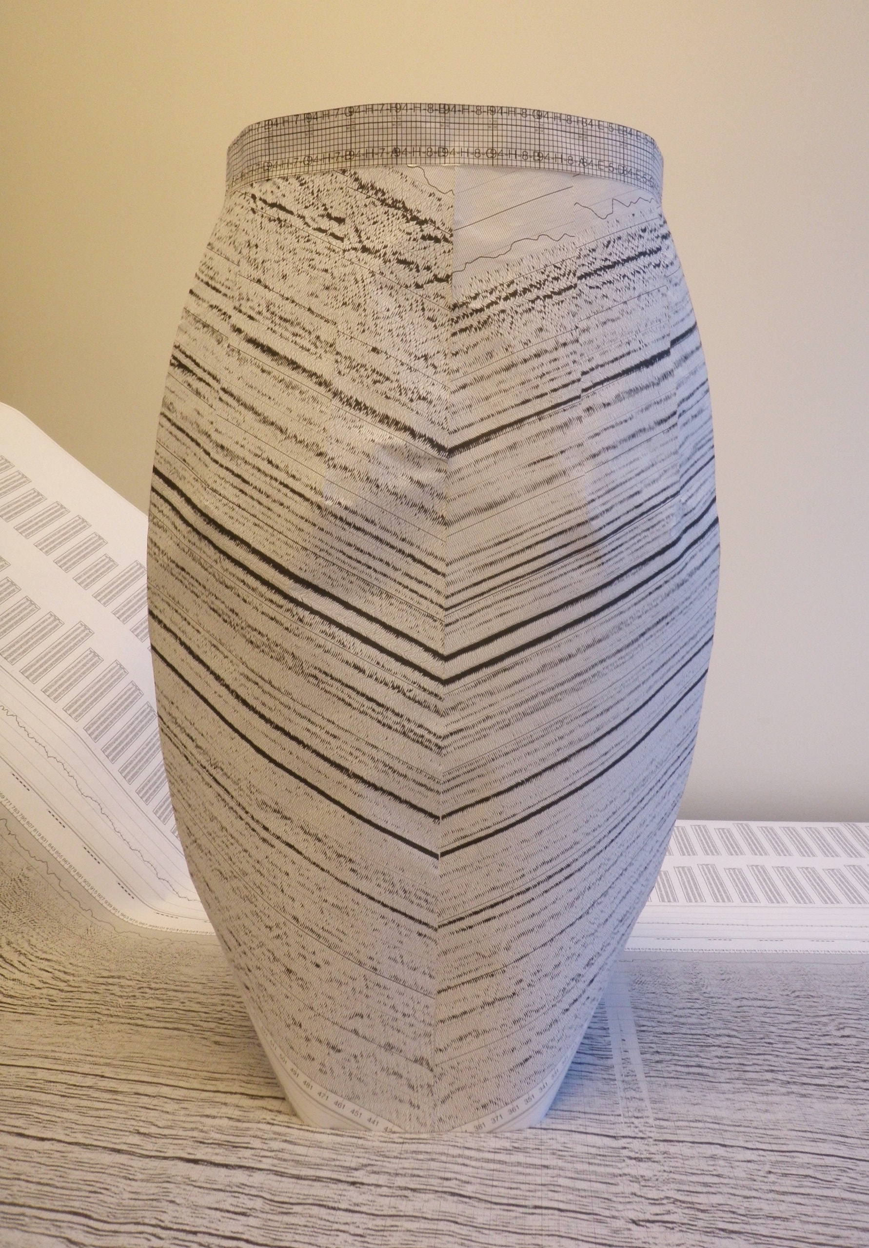 at work with seismic pattern diy pencil skirt design