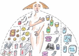 addiction woman illustration